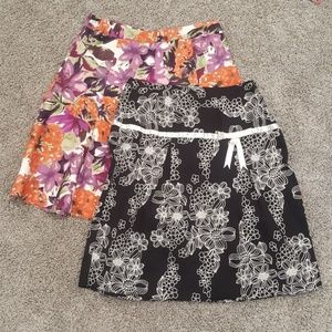 Two Floral Print Skirts